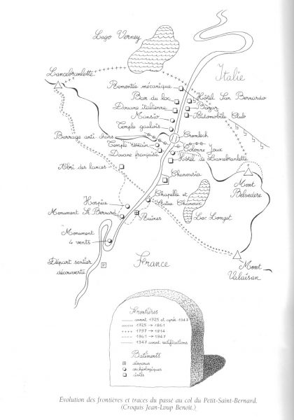 Spostamenti dei confini al colle del Piccolo San Bernardo, schizzo di Jean-Loup Benoit